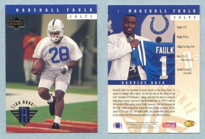 1994 Upper Deck # 7 MARSHALL FAULK RC Rams Rookie -- MINT