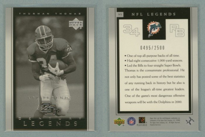 2000 Upper Deck Legends # 93 THURMAN THOMAS 20th Century Legends #d 0495 of 2500 -- MINT