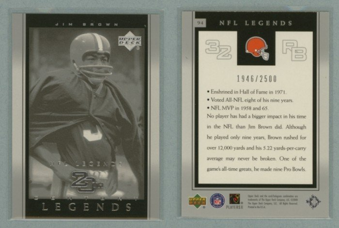 2000 Upper Deck Legends # 94 JIM BROWN 20th Century Legends #d 1946 of 2500 -- MINT