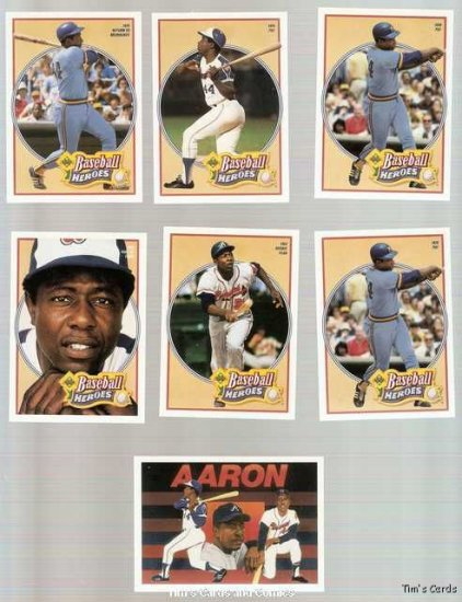 Lot of 8 1991 Upper Deck Hank Aaron Heroes BB Cards