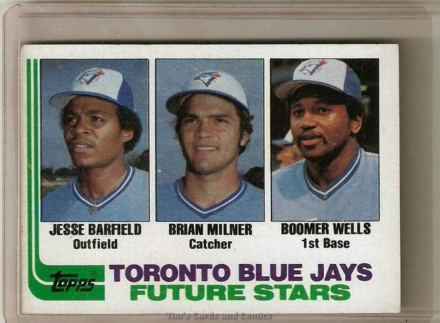 1982 Topps Baseball Card #203 Jesse Barfield RC Brian Milner Boomer Wells RC
