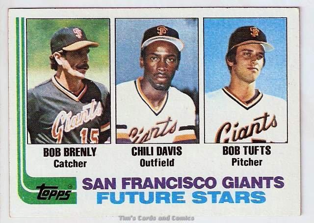 1982 Topps Baseball Card #171 Bob Brenly, Chili Davis, Bob Tufts RCs