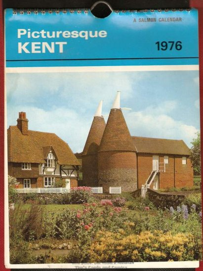 "Salmon's 1976 Picturesque Kent 9x6"" Wirebound Calendar"