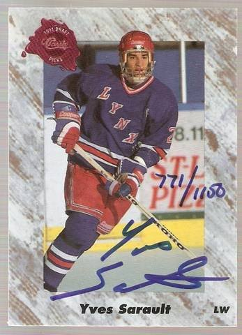 1991 Classic Four Sport Autographs #49A Yves Sarault NM-MT