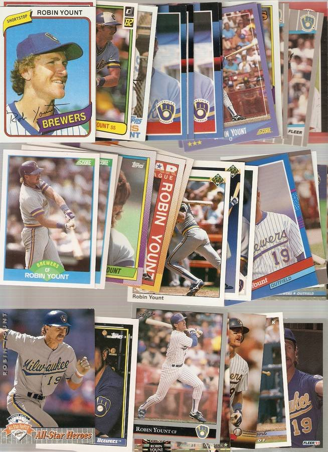 Lot of 40 Robin Yount Baseball Cards Brewers B