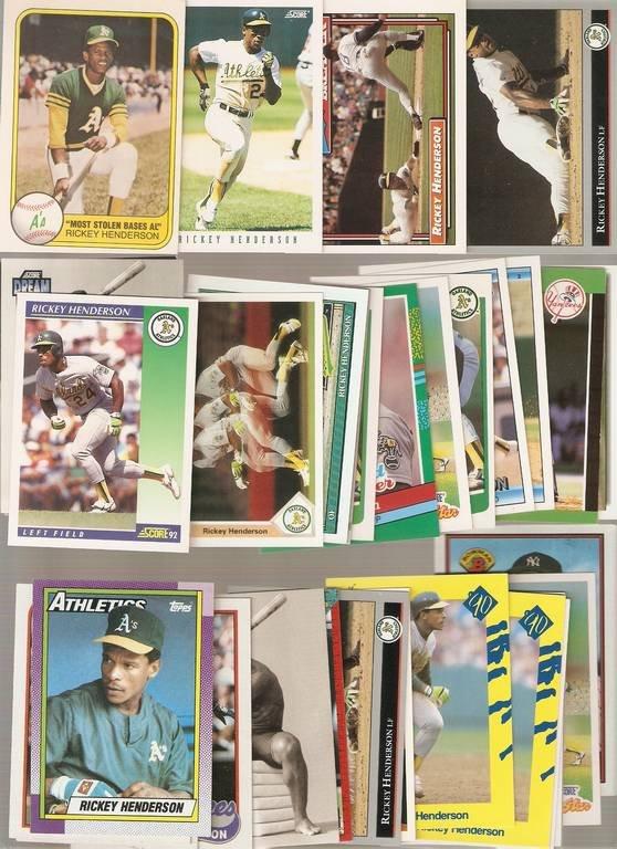 Lot of 34 Rickey Henderson Baseball Cards Yankees A's A