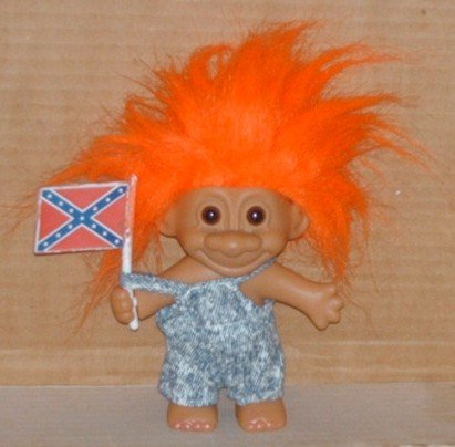 Russ Berrie Troll Redneck with Confederate Flag