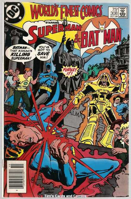 World's Finest #308 Superman Batman DC Comics Oct 1984 FN