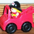 Fisher-Price Little People Red Fire Truck & Fireman Figure from 1998 #72355 Main Street Loose Used