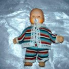 "Vintage 5 1/2"" Baby Doll with Striped Outfit Loose Used"