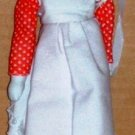 """Vintage 8"""" Porcelain Girl Doll with Red and White Dress Loose Used"""