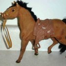 Brown/Tan Flocked Plastic Toy Horse with Saddle Loose Used
