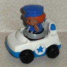 Fisher-Price Little People Police Car and Policeman Figure Traffic Control Loose Used