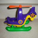 Shelcore Purple, Orange, Yellow & Green Plastic Toy Helicopter 2001 Loose Used
