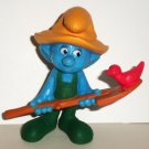 McDonald's 2011 Smurfs Farmer Smurf PVC Figure Happy Meal Toy  Loose Used