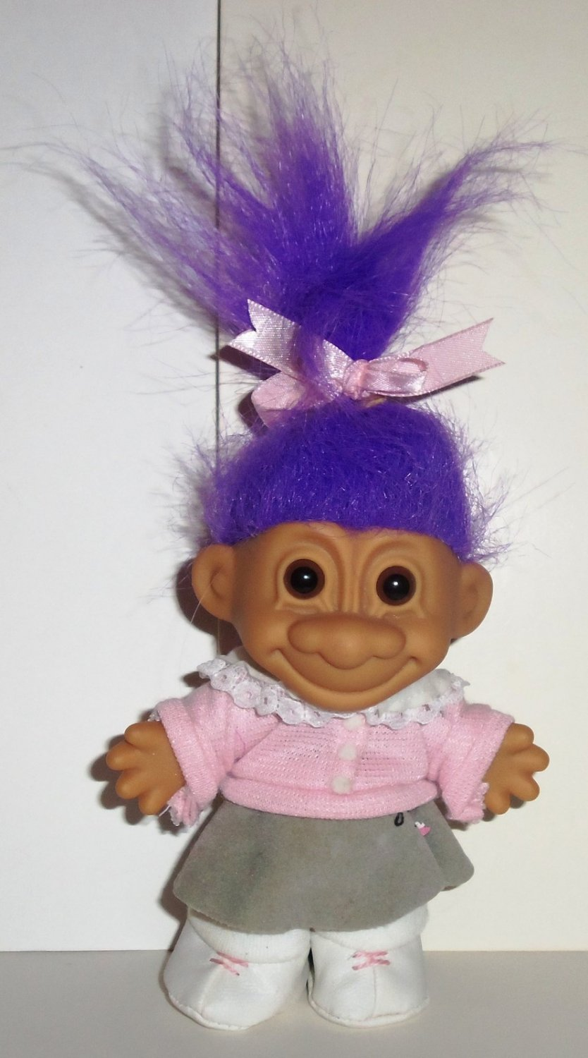 """Russ 5"""" Girl Troll 1950's Poodle Skirt with Purple Hair ..."""