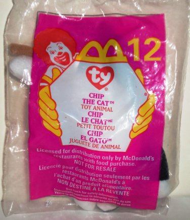 0a0988cdf68 McDonald s 1999 Ty Teenie Beanie Babies Chip the Cat Happy Meal Toy in  Original Packaging