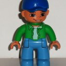Lego Duplo Lego Ville Boy Figure w/ Blue Cap and Pants & Green Shirt Loose Used
