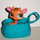 McDonald's 2010 Littlest Pet Shop Orange Giraffe Figure and Carrier Happy Meal Toy Hasbro Loose Used