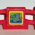 Fisher-Price Little People Red Fence Piece with Seal Litho Loose Used