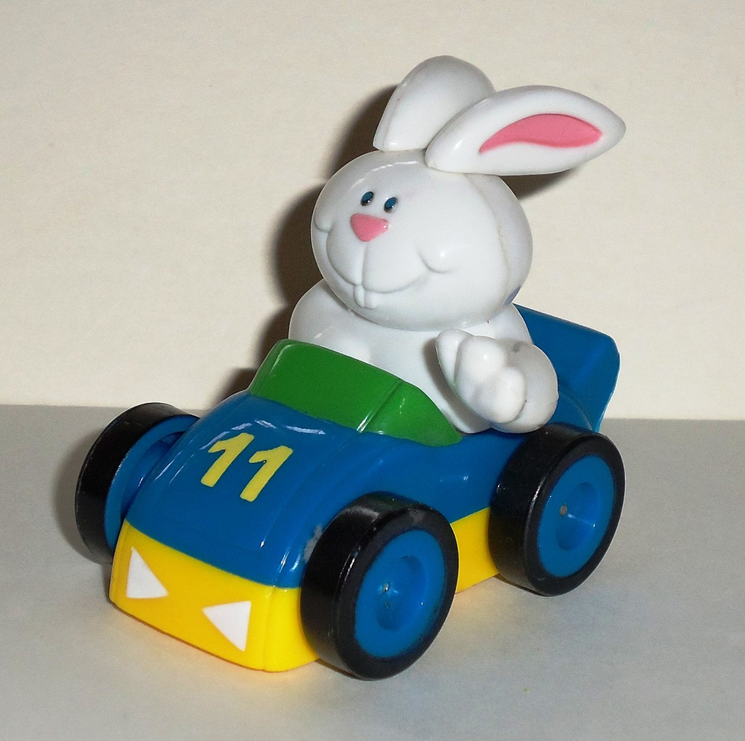 Bunny Rabbit in Plastic Race Car Pull Back and Go Loose Used