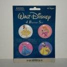 Walt Disney Princesses 4 Button Pin Set Cinderella Snow White Aurora Belle C&D Visionary