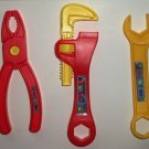 Chuck E. Cheese's Lot of 3 Plastic Toy Tools Wrench Pliers Pipe Wrench Loose Used