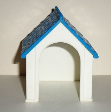 Fisher Price 1993 White Dog House W Blue Roof From Dream Dollhouse