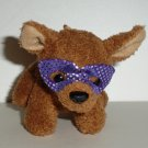 Plush Chihuahua Dog with Purple Mask Ornament Toy.Loose Used