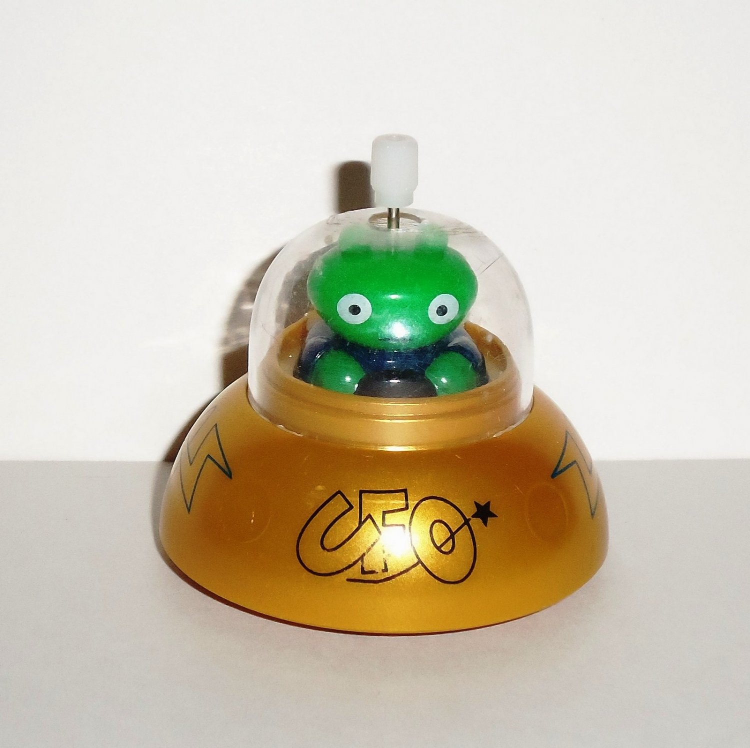 Hans No Fall Ufo Wind Up Toy Gold Flying Saucer Loose Used