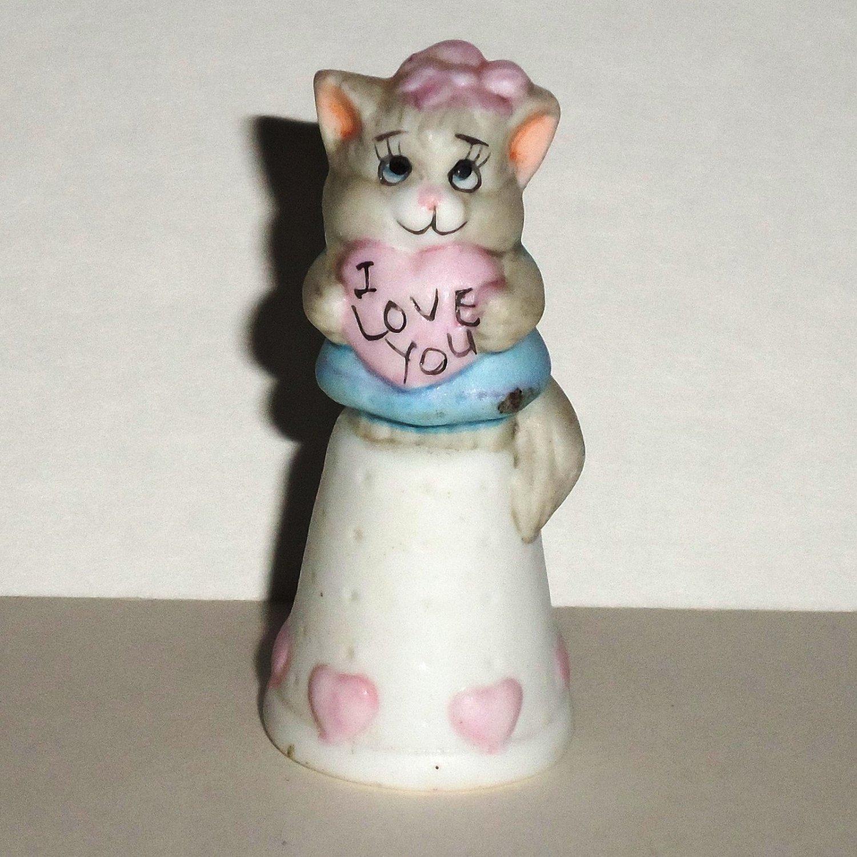 Feline Feelin's Thimbles I Love You Ceramic Figurine Loose Used
