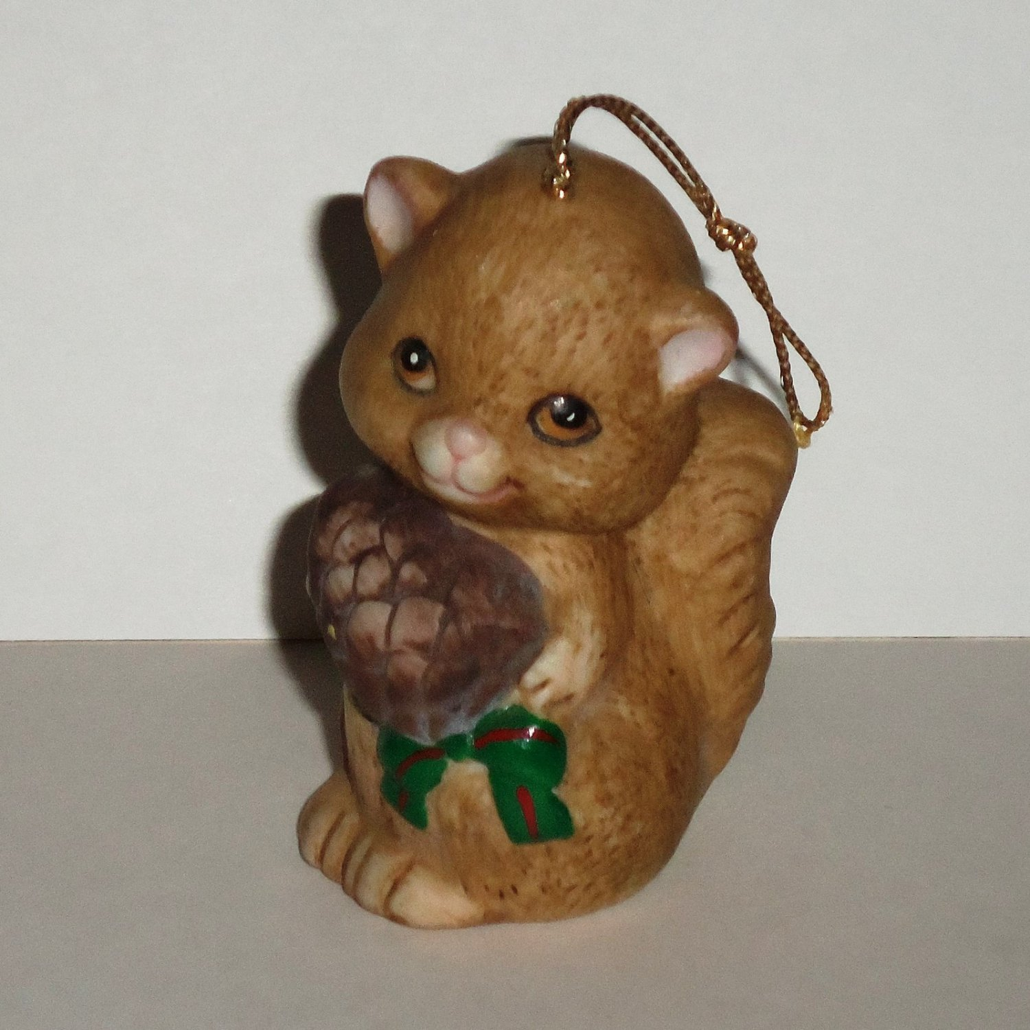 J.S.N.Y. Holiday Friend Squirrel Bisque Porcelain Bell Christmas Ornament Loose Used