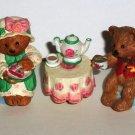 Hallmark Merry Miniatures Tea Time Bears 3 Piece Ceramic Figurine Set Loose Used