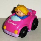 Fisher-Price Little People T5627 Wheelies Pink Coupe Car Mattel 2009 Loose Used