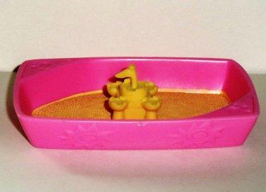 Littlest Pet Shop Pink and Yellow Cat Litter Box Sandbox Accessory Hasbro 2006 Loose Used