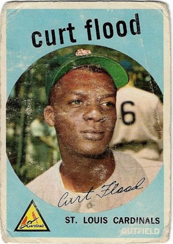 1957 Topps Baseball Card #353 Curt Flood  St. Louis Cardinals Poor