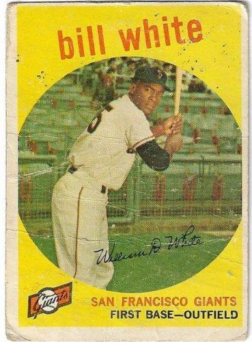 1957 Topps Baseball Card #359 Bill White RC San Francisco Giants Poor