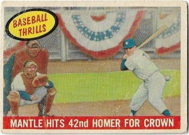 1959 Topps Baseball Card #461 Mickey Mantle Baseball Thrills 42nd Homer New York Yankees Fair
