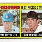 1967 Topps Baseball Card #428 Los Angeles Dodgers Rookie Stars Tom Hutton RC Gene Michael RC EX