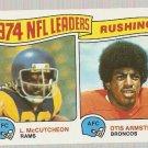 1975 Topps Football Card #1 Rushing Leaders Lawrence McCutcheon Otis Armstrong VG