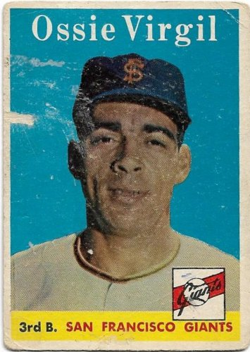 1958 Topps Baseball Card #107 Ossie Virgil San Francisco Giants PR