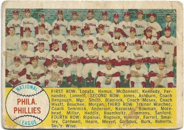 1958 Topps Baseball Card #134 Philadelphia Phillies Checklist PR