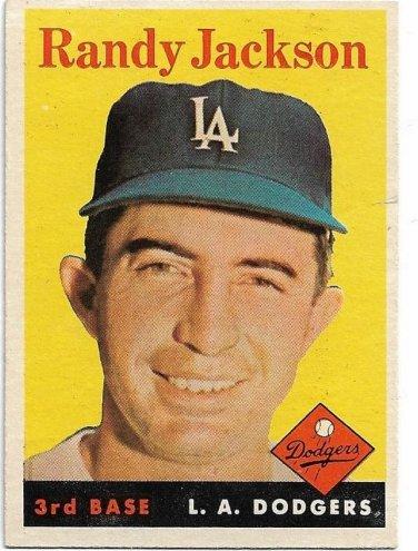 1958 Topps Baseball Card #301 Randy Jackson Los Angeles Dodgers GD