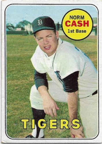 1969 Topps Baseball Card #80 Norm Cash Detroit Tigers EX