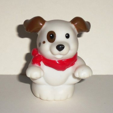 Fisher-Price Little People White Dog w/ Brown Spots Figure B4063 Mattel 2009 Loose Used