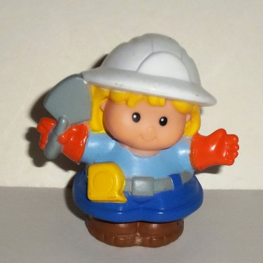 Fisher-Price Little People Blonde Girl w/Hardhat Figure from 77609 Mixie the Cement Truck Loose Used