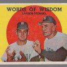 1959 Topps Baseball Card #383 Words of Wisdom Don Larsen Casey Stengel New York Yankees GD