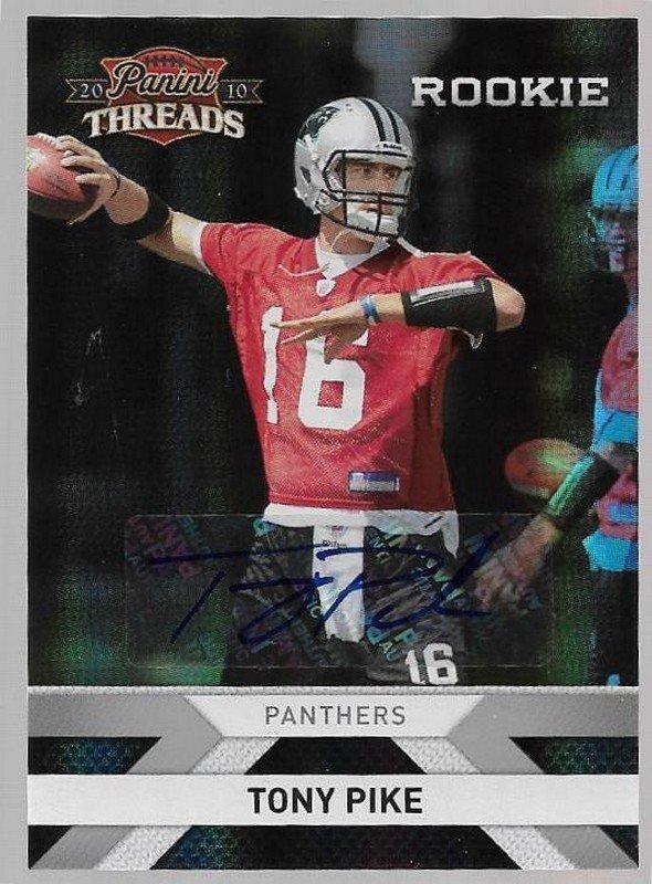 2010 Panini Threads Autographs Silver Football Card #292 Tony Pike 128/499 Carolina Panthers NM-MT
