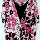 MAGGIE BARNES BLACK & PINK WOMEN'S PLUS SIZE 2X FLORAL TOP/BLOUSE SHORT SLEEVE