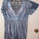 WOMEN'S PLUS SIZE 1X BLUE WHIMSICAL SHARKBITE TUNIC TOP LACE BACK EMBELISHMENTS